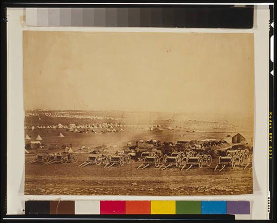 [Kamara Heights in the distance, artillery waggons in the foreground].