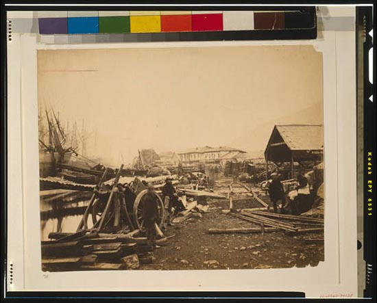 Landing place, railway stores, Balaklava, looking up the harbour.