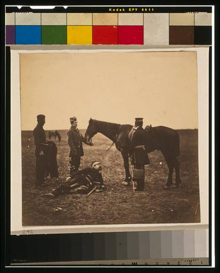 Colonel Airey & Major Hallewell. Two officers, one standing by horse, the other reclining on ground, with two attendants nearby.